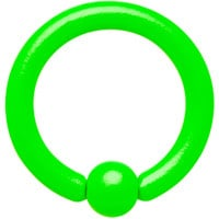 """14 Gauge 5/16"""" Neon Green BCR Captive Ring 3mm Ball   Body Candy Body Jewelry"""