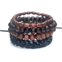 Mens Bamboo Beaded Bracelet