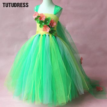 Green Flower Tutu Dress Children Girls Cosplay Princess Elsa Dress Kids Christmas Halloween Costume Girl Birthday Party Dresses