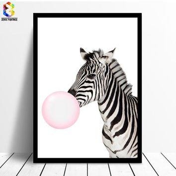 Kawaii Bubble Painting of Zebra Canvas Art Print Poster, Animal Wall Picture for Living Room Decoration Home decor