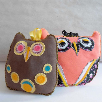 i love you Gift Couple Owls Pillows, Owl cute toys, Little Stuffed Owls, Nursery Room decor Miniature toys owls Little Plushie Gift for kids