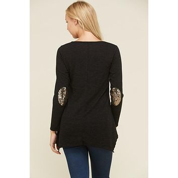 Top with Sequin Patches on Elbows - Black