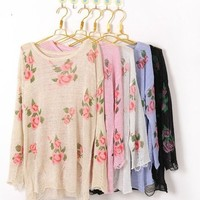 Wild Rose Distressed Sweater from Sunkissed Dreams