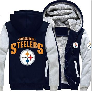 Steelers Hoodie Zipper Fleece Jacket