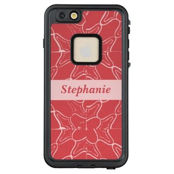 Red Grunge Tile Pattern Personalized name LifeProof® FRĒ® iPhone 6/6s Plus Case