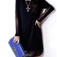 Long-sleeved Mesh-seamed Solid-tone Dress