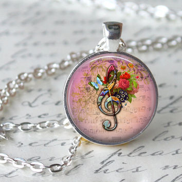G CLEF Necklace Pendant Vintage Floral Music Note Glass Pendant Handmade Jewerly Musical Pendant Gifts for musicians romantic floral pendant