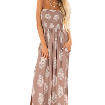 Mocha Sleeveless Wide Leg Jumpsuit with Side Pockets
