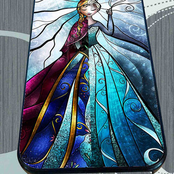Elsa and Anna Disney Frozen Stained Glass for iPhone 4/4s/5/5S/5C/6/6+, Samsung S3/S4/S5 Case *95*