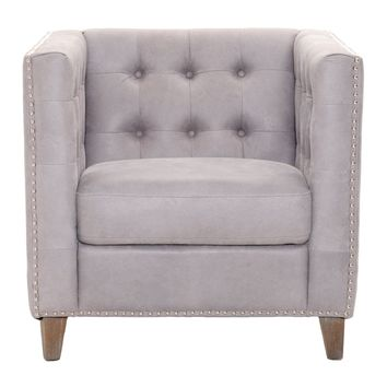 Ritchey Sofa Club Chair Weathered Pearl Gray Leather