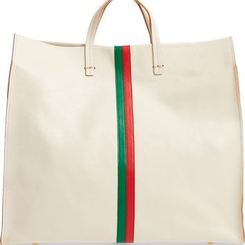Clare V. Simple Stripe Leather Tote | Nordstrom