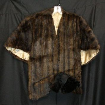 Vintage Ladies Dark Brown Mink Fur Stole