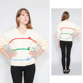 1980s Novelty Sweater Vintage Pure Wool Pullover 80s Cosby Jumper