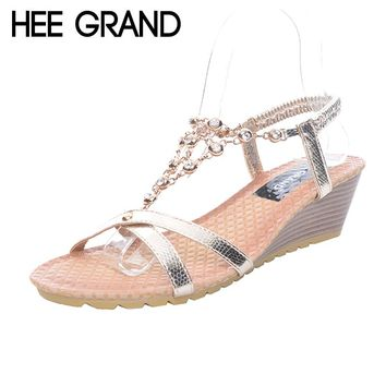 Women's Sandals Crystal Rhinestone Embellished Chain, Low Wedge Heel