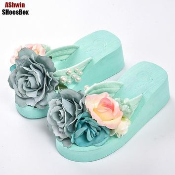 summer women flip flops mules clogs wedge flower sandals garden shoes handmade pearl s