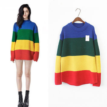 UNIF Vintage Stripes Gradient Tops Pullover Needles [6341269444]