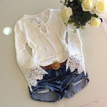 Hollow Out Lace White Women's Fashion Hot Sale Tops = 5861782081