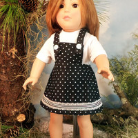 American Girl Doll Clothes,  Polka Dot Overall Skirt And T-Shirt, Fits Springfield, Madame Alexander, 18 Inch Dolls, Doll Play Clothes