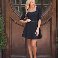 Scalloped Belted Dress Black CLEARANCE