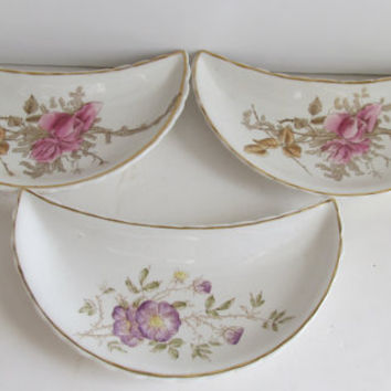 Set of 3 Antique Bone Dish English Set Bone Dishes Bridgways & son England English China Side Dishes Floral China Trending Vintage Items