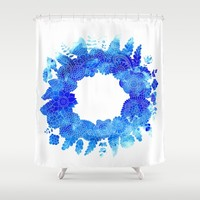 Blue Floral Pattern 01 Shower Curtain by Aloke Design