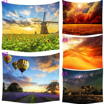 Comwarm Changing Sky Desert Sunflowers Romantic Scenery Pattern Polyester Tapestry Wall Hanging Gobelin Bedroom Home Decor T043