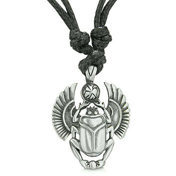 Amulet Egyptian Scarab Rebirth Magic Powers Spiritual Energy Pewter Pendant Necklace