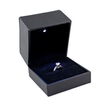 Caddy Bay Collection Black Ring Case Display Presentation Gift Engagement Jewelry Box With LED Light