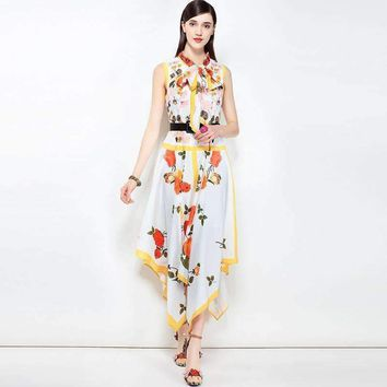 Womens Sleeveless Bow Slim mid-calf-length Dress