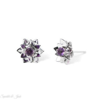 Sterling Silver Round Amethyst Lotus Stud Earrings