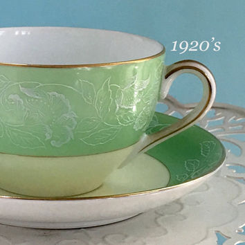 Antique Noritake Tea Cup and Saucer Set, Teacup, Shabby Chic China, Vintage Kitchen, Mint Green Wedding Gift
