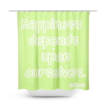 Happiness Lime Green Shower Curtain