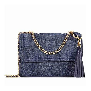 Tory Burch Fleming Convertible Small Leather Shoulder Bag (Navy Suede)