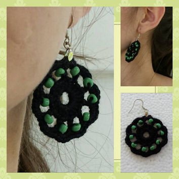 Black Crochet Flower Earings Decorated with Green and red Beads