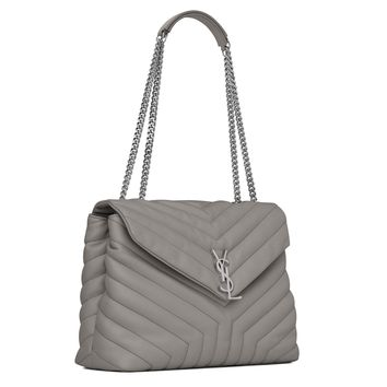 "Saint Laurent YSL Loulou Monogram Large BAG IN PEARL GREY ""YSL"" MATELASSÉ LEATHER Chain Shoulder Bag 459749"