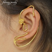 feimeng jewelry Fairy Tale Beauty and the Beast Earrings Ear Cuff Belle Golden Rose Stud Earrings For Women Charm Accessories