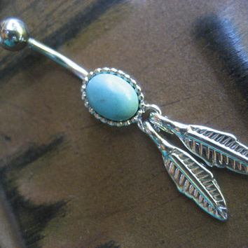 Turquoise Feather Belly Button Ring- Dream Catcher Navel Piercing Jewelry Dreamcatcher Cabochon Bar Barbell