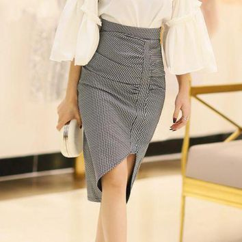 DCCKON3 vintage casual plaid asymmetrical skirt Womenkorean elegant ladies skirts midi high waist pencil skirt