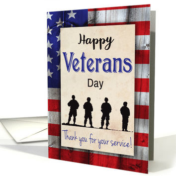American Flag and Silhouette Soldiers for Veterans Day card