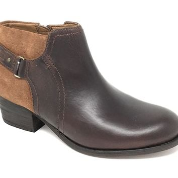 Clarks Maypearl Lilac Dark Tan Combi Leather Boots