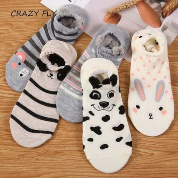 CRAZY FLY 2018 Cotton Funny Socks Girl Cute Bear Cat Rabbit Dog Animal Cartoon Women Short Print 3d Low Cut Slipper Ankle Socks