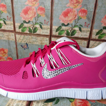 blinged nike free 5 0 + run purple silver white color customized with swarovski crystal rhinestones