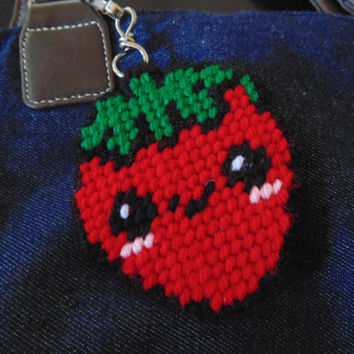 Strawberry Clip Charm Needlepoint  For Backpack or Handbag Kawaii Art Charm