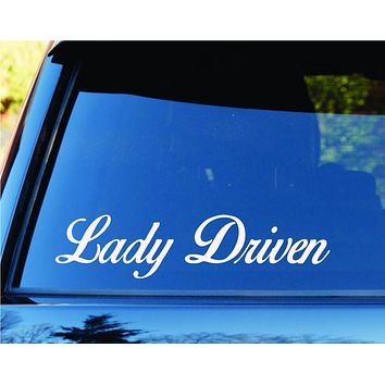 Lady Driven Car Window Windshield Lettering Decal Sticker Decals Stickers JDM...
