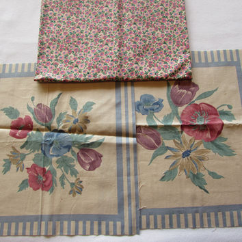 Vintage Country Blue Flower Fabric Panels