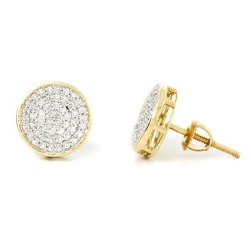 Diamond Round Cluster Pave Set Screw Back Earring in 14k Gold