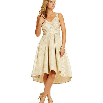 Eva Franco Zander Metallic Brocade Hi-Low Party Dress | Dillards