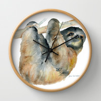 Sloth Wall Clock by Susan Windsor