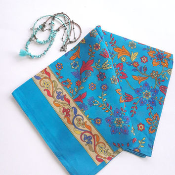 Azure cotton turkish scarf, Large square floral  scarves, autumn scarves