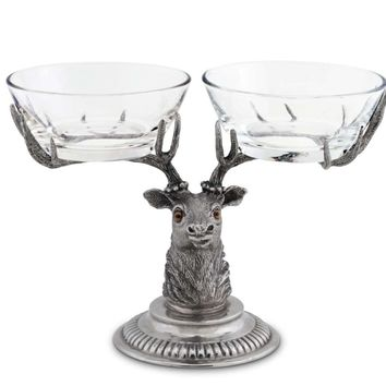 Stag Head Double Condiment Bowl